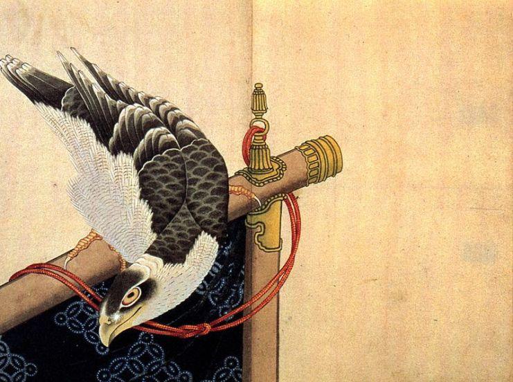Falcão simbolo japonesa típica do ano novo no japão, shogatsu
