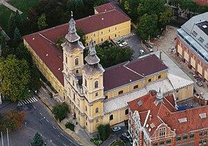 Miskolc, Minorite church, Hungary, aerial phot...