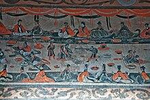 e3094fffa0680 اليسار  في وقت متأخر هان الشرقية (25-220 م) اللوحة الصينية المقبرة عرض  مشاهد حية من مأدبة (يانين 宴飲) والرقص والموسيقى (wuyue 舞 樂) ، الألعاب  البهلوانية ...