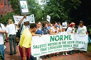 NORML members protest in Lafayette Park during...