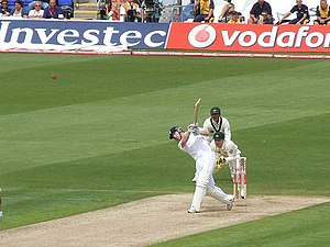 Paul Collingwood battingin the first ashes tes...