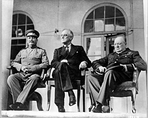English: From left to right: Joseph Stalin, Fr...