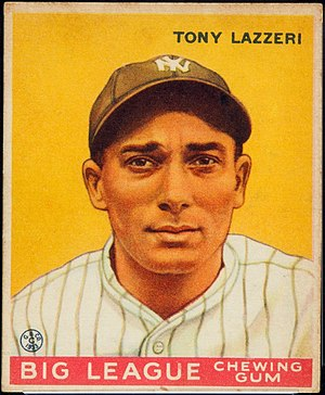 English: 1933 Goudey card of Tony Lazzeri of t...