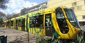 English: Tram (LRT) in exhibition in Brasilia,...