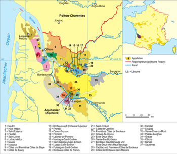 Bildbeschreibung: Karte Weinbaugebiet Bordeaux...