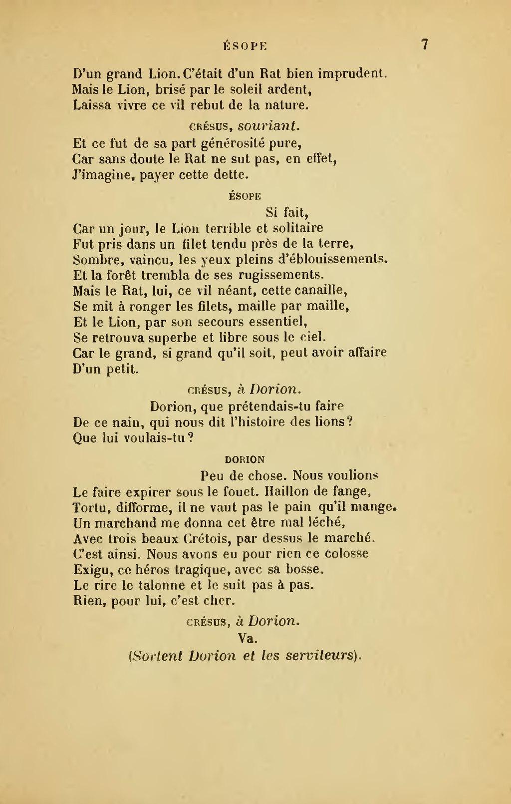 Le Lion Et Le Rat Esope : esope, Page:Banville, Ésope,, 1893.djvu/17, Wikisource