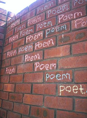 Chalk Poem in Heathridge backyard WA