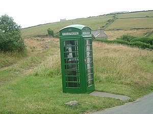 Green Manx phone box
