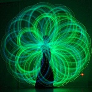 Poi spinning. Poi artist: Nick Woolsey