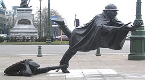 A statue tripping