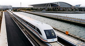 A meglev train is coming out of the Pudong Int...