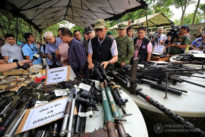 Confiscated Weapons Marawi crisis June 2017