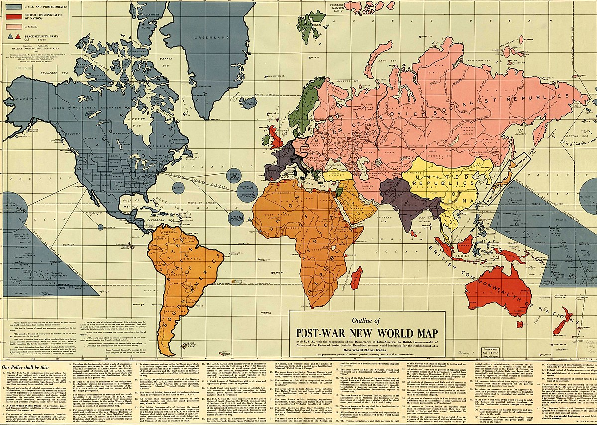 Outline Of The Postwar New World Map  Wikipedia