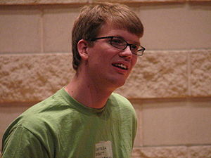Hank Green at the last stop of the Great Ameri...