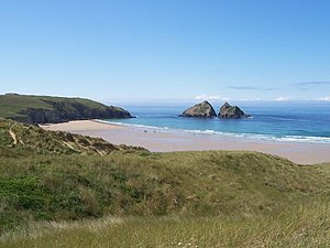 English: Holywell Bay This beach was the backd...