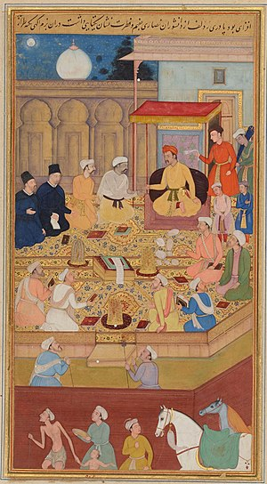 Painting of Akbar the Great with Jesuits at hi...