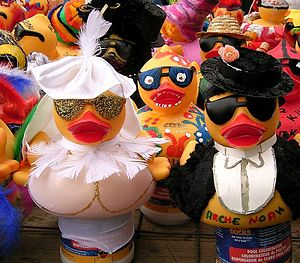 Painted and decorated rubber ducks from the an...