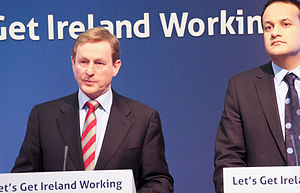 Leo Varadkar and Enda Kenny at a news conferen...