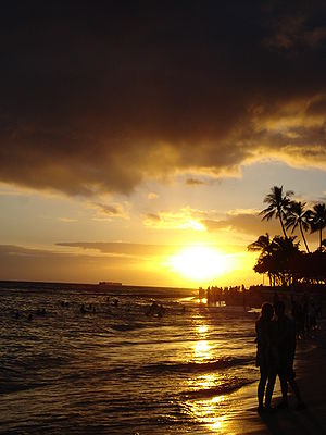 Sunset on Waikiki Beach, Waikiki, Hawaii