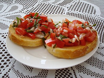 English: Tomato Bruschetta Français : Bruschet...