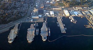 A view of aircraft carriers docked at the Brem...