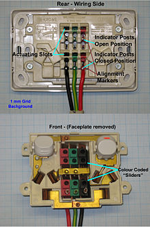 wiring diagram for 3 way caravan fridge 8086 pin with explanation as nzs 3112 wikipedia australian dual socket outlet using insulation displacement a means of connecting to low voltage 230 v supply conductors