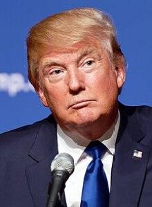 """Trump at lectern before backdrop with elements of logo """"TRUMP DonaldJTrump.com"""""""