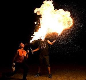 Aaron McKim fire breathing in Victoria Park, S...