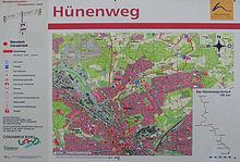 Informationstafel am Start- bzw. Zielpunkt des Hünenwegs in der Nähe des Osnabrücker Rathauses