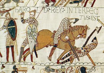 English: Harold Godwinson falls at Hastings. H...