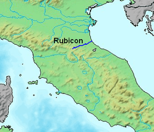 Presumed course of the Rubicon