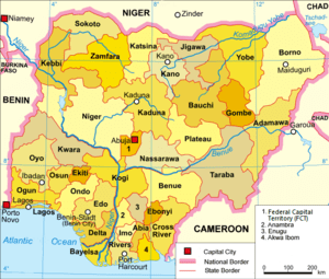 English: Political map of the 36 States of Nig...