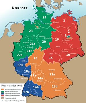 Postcode zones of Deutsche Reichspost, 1946 De...