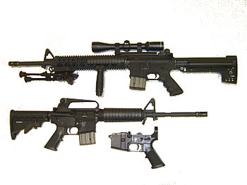 AR-15 rifles showing their configurations with...