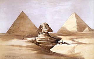The Great Sphinx (and) Pyramids of Girzeh (Giza) July 17, 1839, by David Roberts.