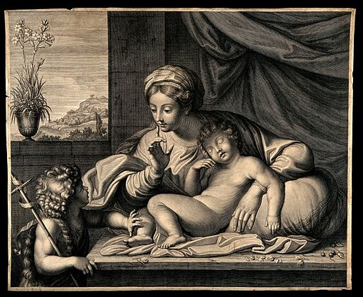 The Virgin Mary telling a young John the Baptist to be quiet Wellcome V0015058