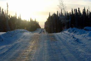 Winter road in northern British Columbia, Canada