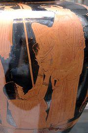 Gaia hands her newborn, Erichtonius, to Athena as Hephaestus watches - an Attic red-figure stamnos, 470–460 BC
