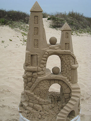English: Sandcastles created on South Padre Is...