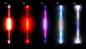 Spectrum = gas discharge tubes: the noble gase...