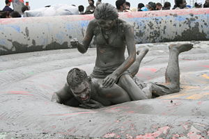 "A man and a woman mud wrestling at ""Mud F..."