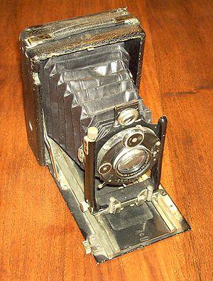Vintage box-bellows type field camera