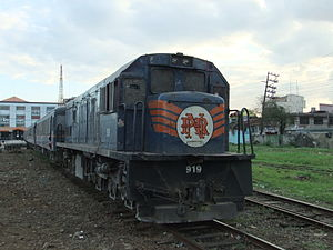 English: A PNR train, GE locomotives with JR s...