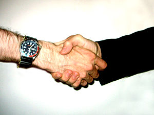 Two people shaking hand