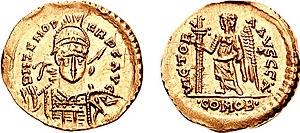 solido bizantino de Odoacro en nombre del Zenón
