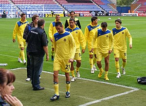 Players of Villarreal CF coming off the pitch ...