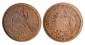 1861 Confederate States of American half dolla...