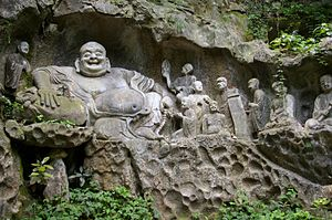The Laughing Buddha on Feilai Feng in Hangzhou