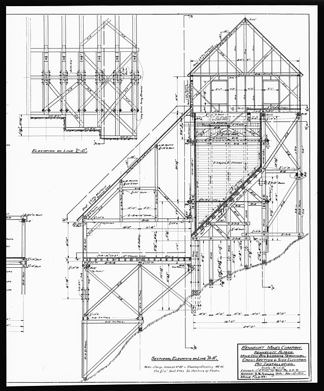 File:44. PHOTOCOPY OF DRAWING OF THE MINE ORE BIN AND