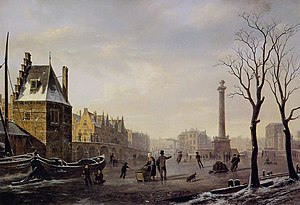 Pompenburg with Hofpoort in winter (Rotterdam)